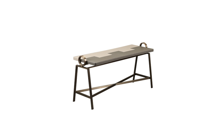 Atlantique is a bronze console with a leather top, from Promemoria's Capsule Collection by Olivier Gagnère | Promemoria