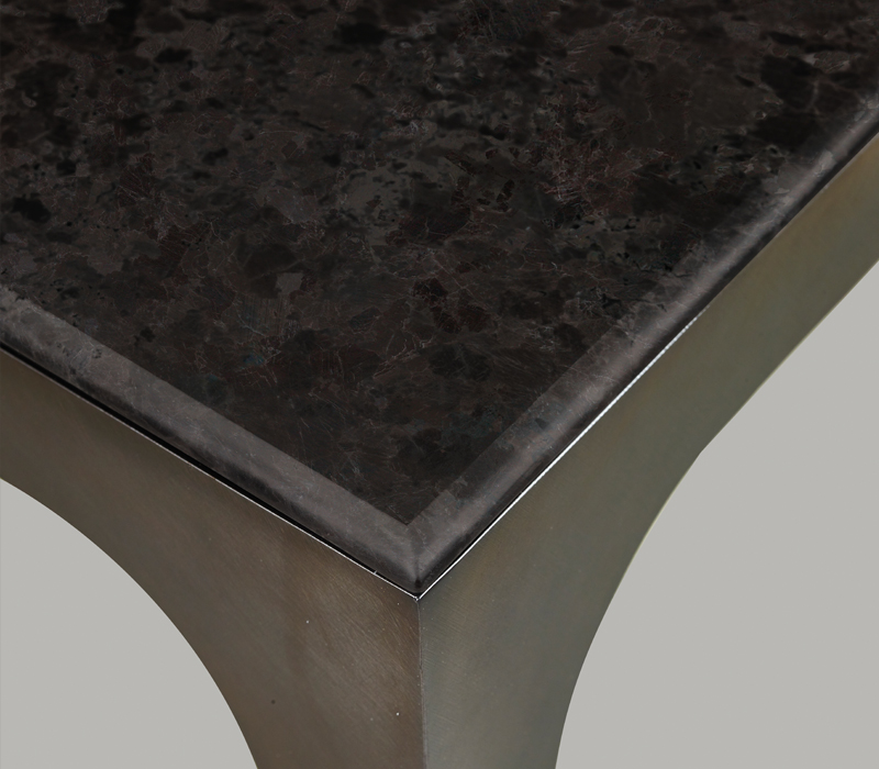 Top detail of Pembridge, a metal console with marble top, from Promemoria's The London Collection | Promemoria