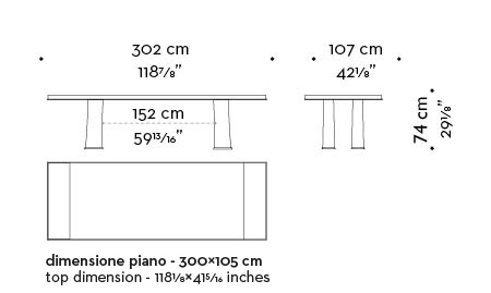 Dimensions of Andalù, a wooden dining table with bronze profile and feet, from Promemoria's catalogue | Promemoria