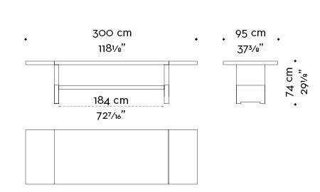 Dimensions of Bamboo, a wooden dining table with a bronze base, from Promemoria's catalogue | Promemoria