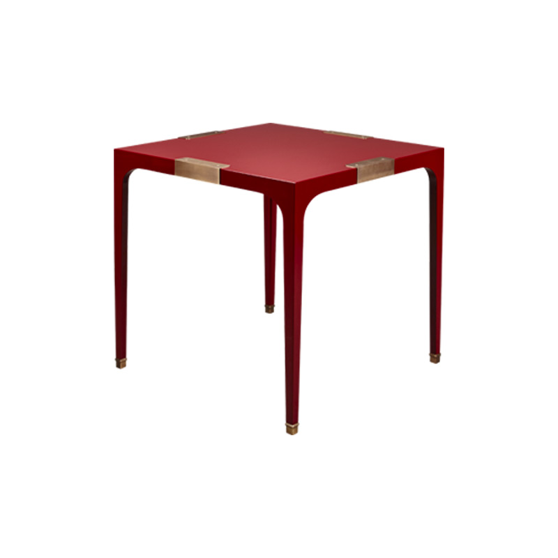 """DC Table"" ist ein Esstisch in Seidenmatt mit Details aus Bronze, aus der ""London Collection"" von Promemoria 