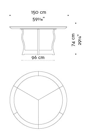 Dimensions of circular Erasmo, a bronze dining table with wooden or leather top, from Promemoria's catalogue | Promemoria