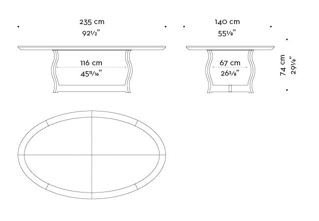 Dimensions of oval Erasmo, a bronze dining table with wooden or leather top, from Promemoria's catalogue | Promemoria
