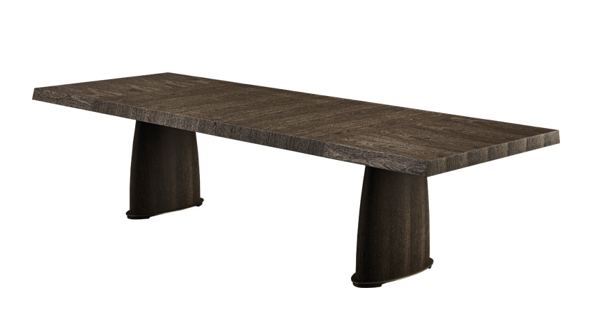 Goffredo is a wooden dining table with a bronze base and checked or striped top, from Promemoria's catalogue | Promemoria