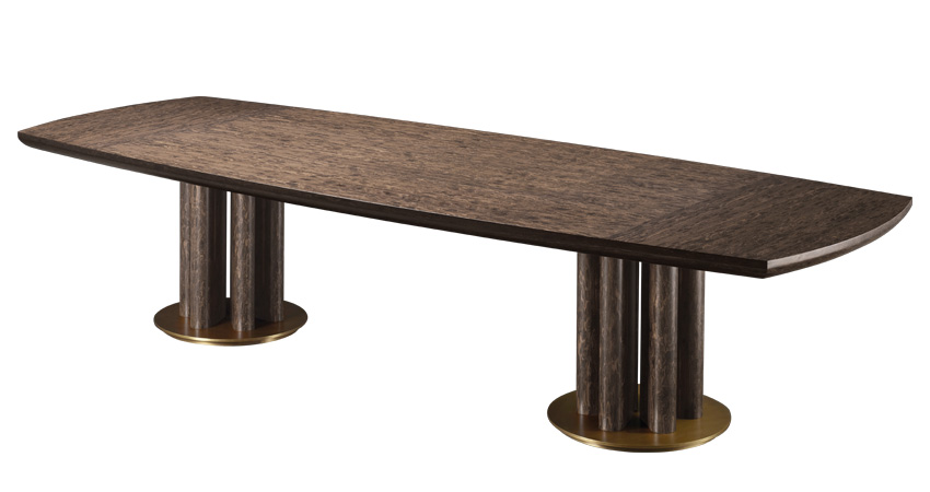 Orazio is a wooden and bronze dining table, from Promemoria's Amaranthine Tales collection | Promemoria