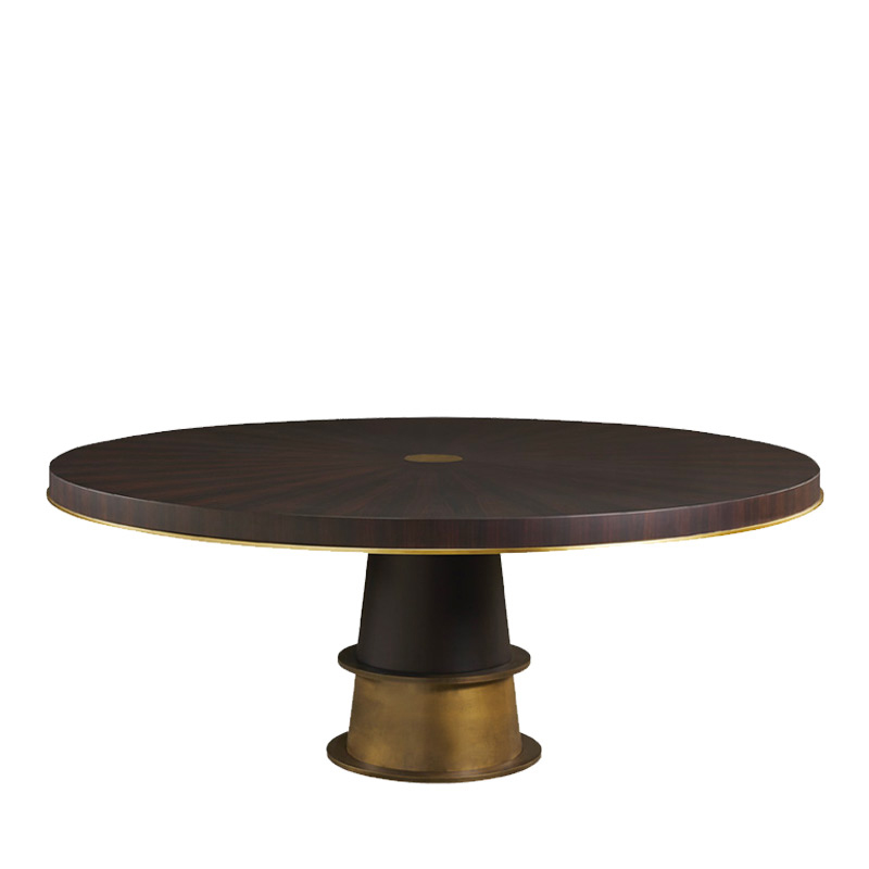 Tornasole is a dining table available in different sizes and can be made of wood, marble or onyx with bronze decorations and details, from Promemoria's catalogue | Promemoria