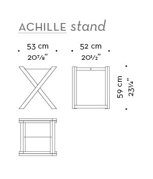 Dimensions of Achille stand, a folding wooden small table with a tray from Promemoria's catalogue | Promemoria