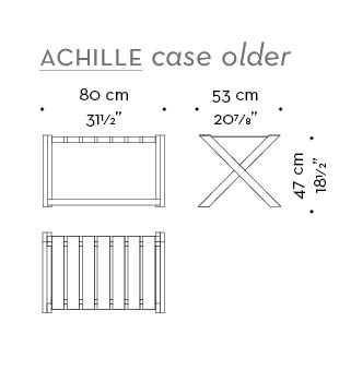 Dimensions of Achille case holder, a folding wooden small table with a tray from Promemoria's catalogue | Promemoria
