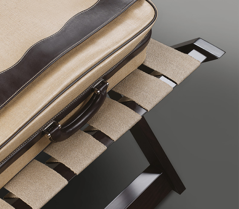 Detail of Achille, a folding wooden small table with a tray from Promemoria's catalogue | Promemoria