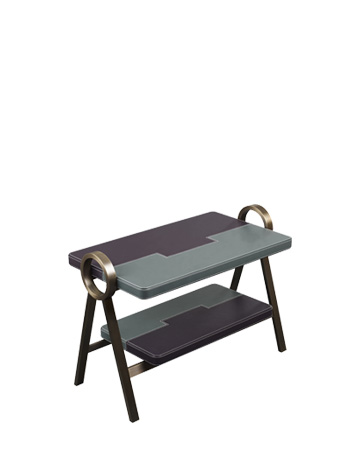 Atlantique is a bronze small table with leather top, from Promemoria's Capsule Collection by Olivier Gagnère | Promemoria