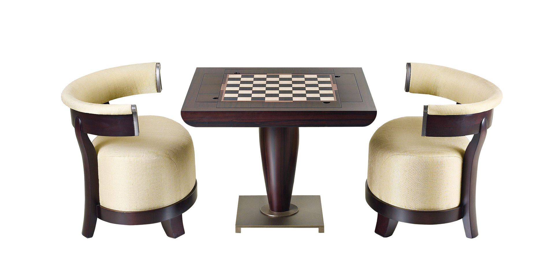 Bassano da gioco is a wooden gaming table with bronze base equipped for several board games, from Promemoria's catalogue | Promemoria