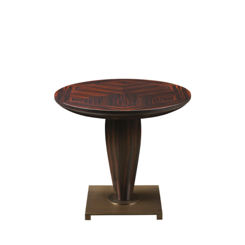 Bassano is a wooden small table with a bronze base from Promemoria's catalogue | Promemoria