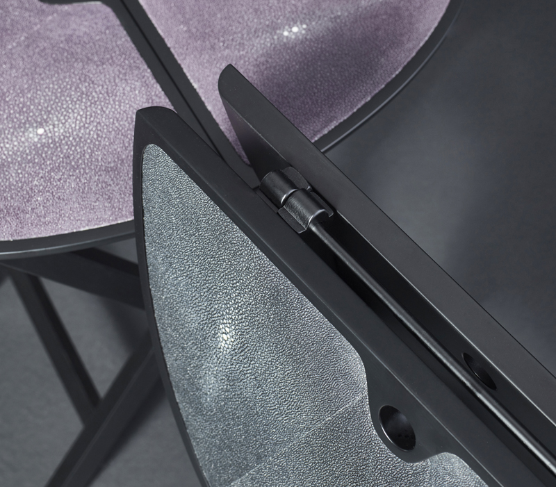 Top detail of Battista is a wooden folding service table that can be covered in leather, from Promemoria's catalogue | Promemoria