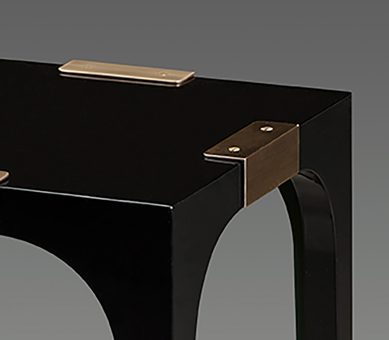 Bronze details of DC Table, a semi-gloss small table with bronze feet, from Promemoria's The London Collection | Promemoria