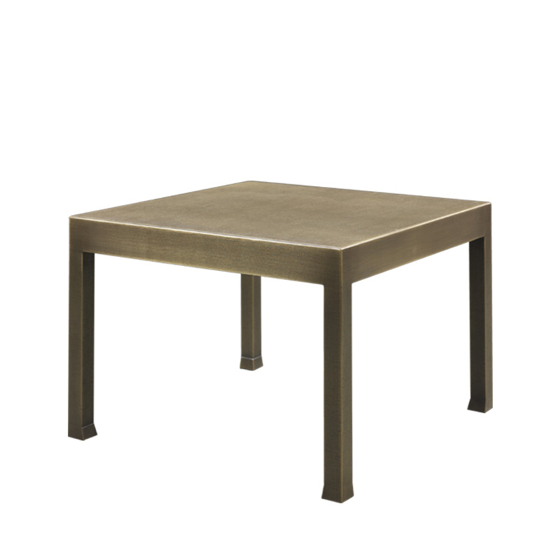 Gong is a bronze small table with glass top, from Promemoria's catalogue | Promemoria