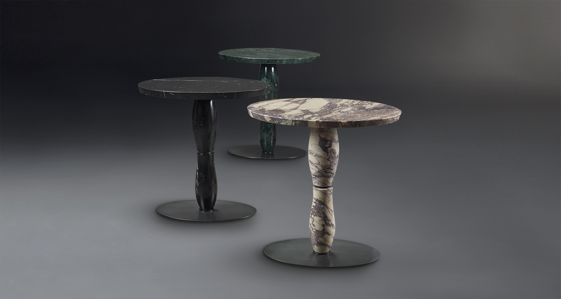 Mediterranée is a small table available in marble or bronze and wood, from Promemoria's Capsule Collection by Olivier Gagnère | Promemoria