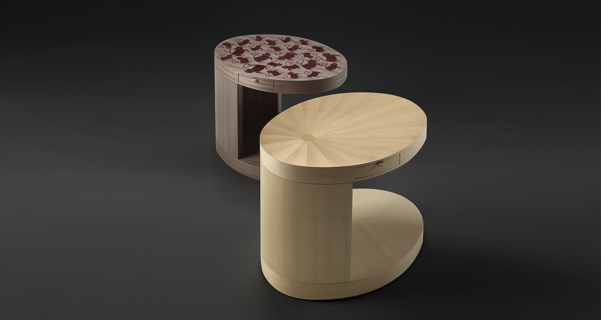 Silvestro is a wooden small table with wheels and drawers from Promemoria's Indigo Tales collection | Promemoria