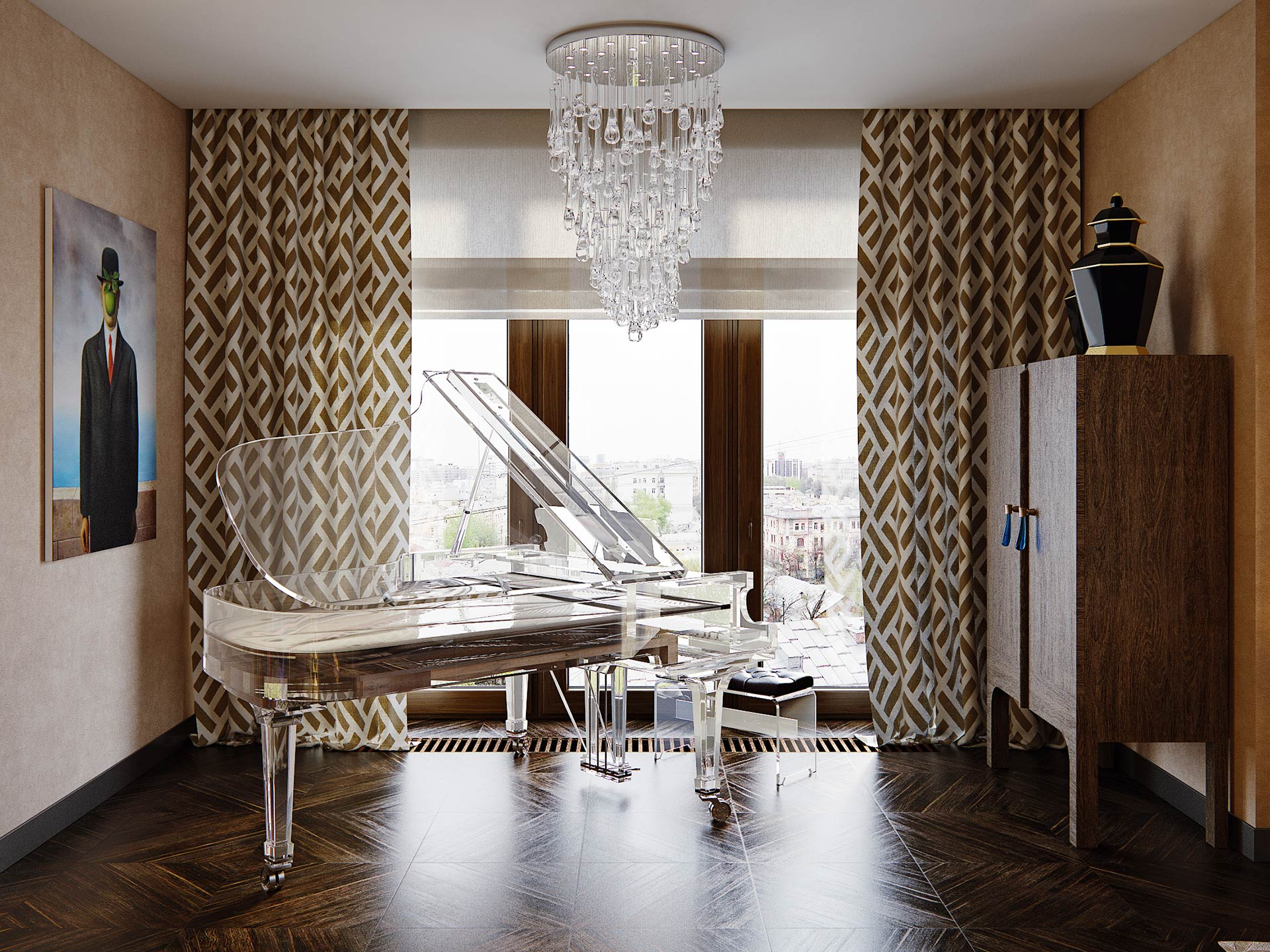 Piano room in a private residence in Moscow furnished with Promemoria | Promemoria