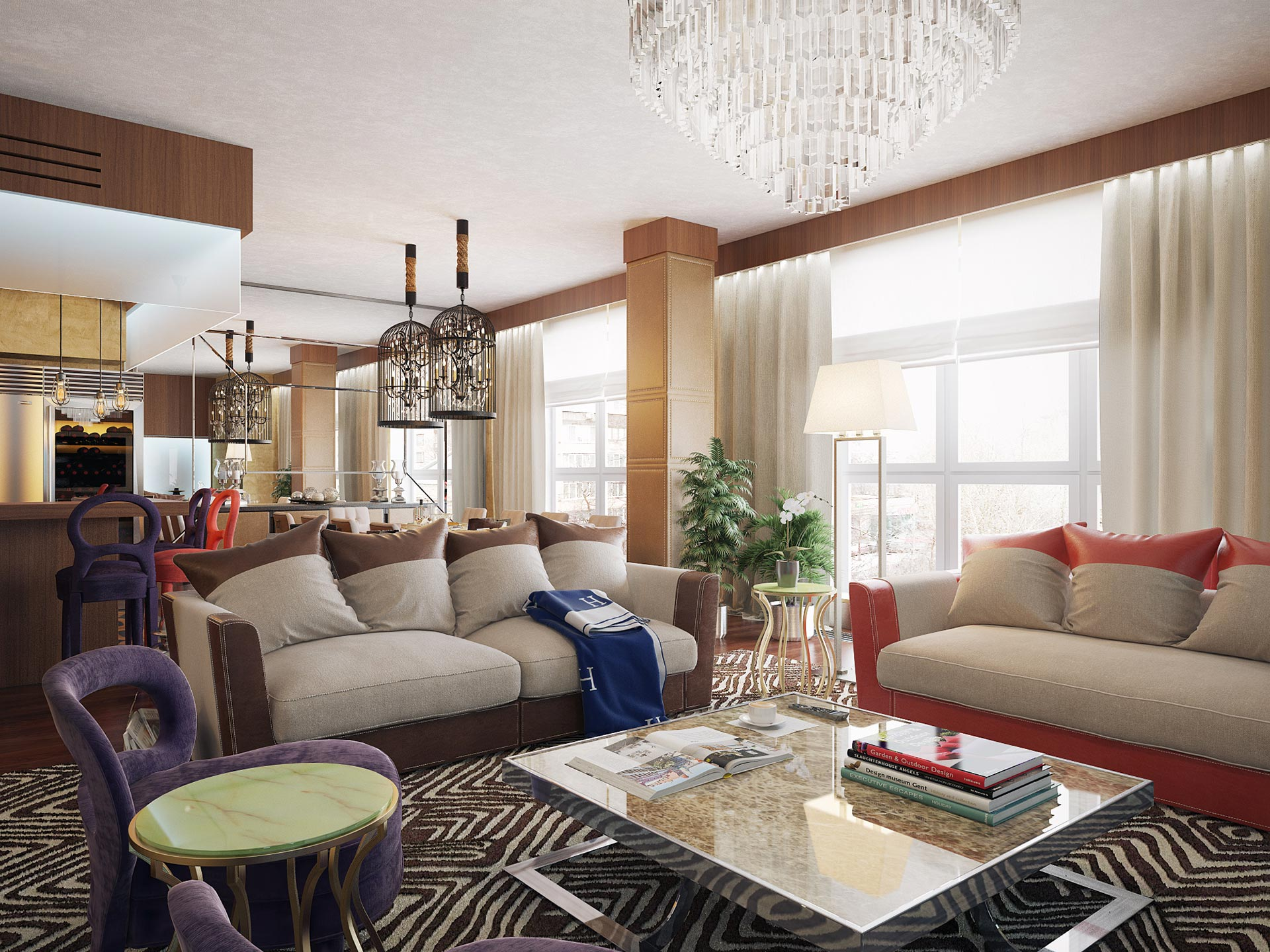 Living room in a private residence in Moscow furnished with Promemoria | Promemoria