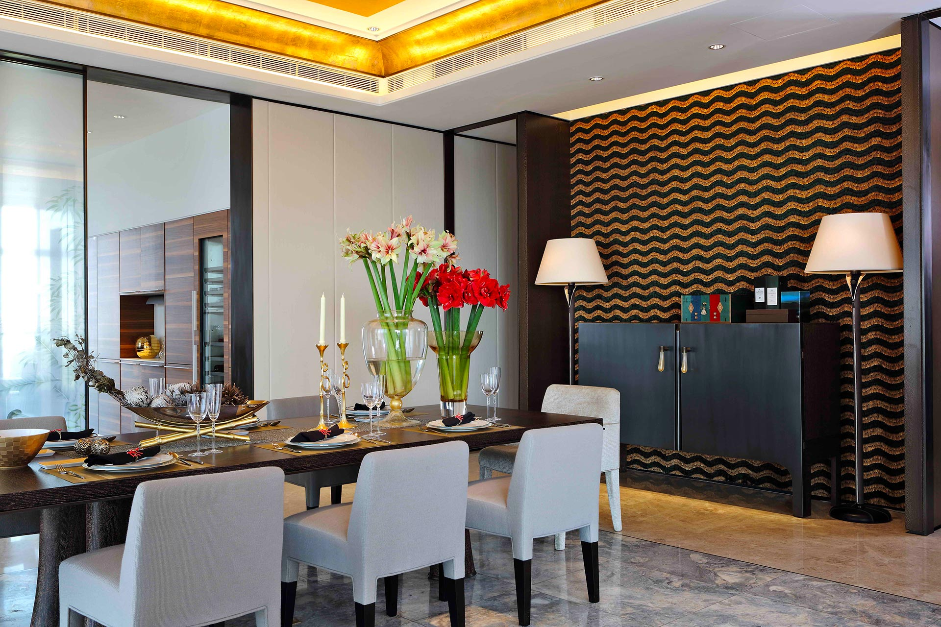 Dining room in a private residence in Beijing furnished with Promemoria | Promemoria
