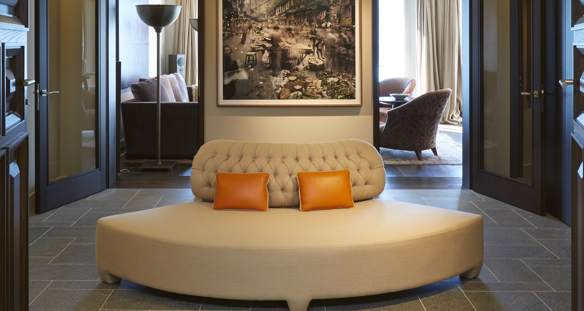 Living room in a private residence in Locarno, Switzerland furnished with Promemoria | Promemoria