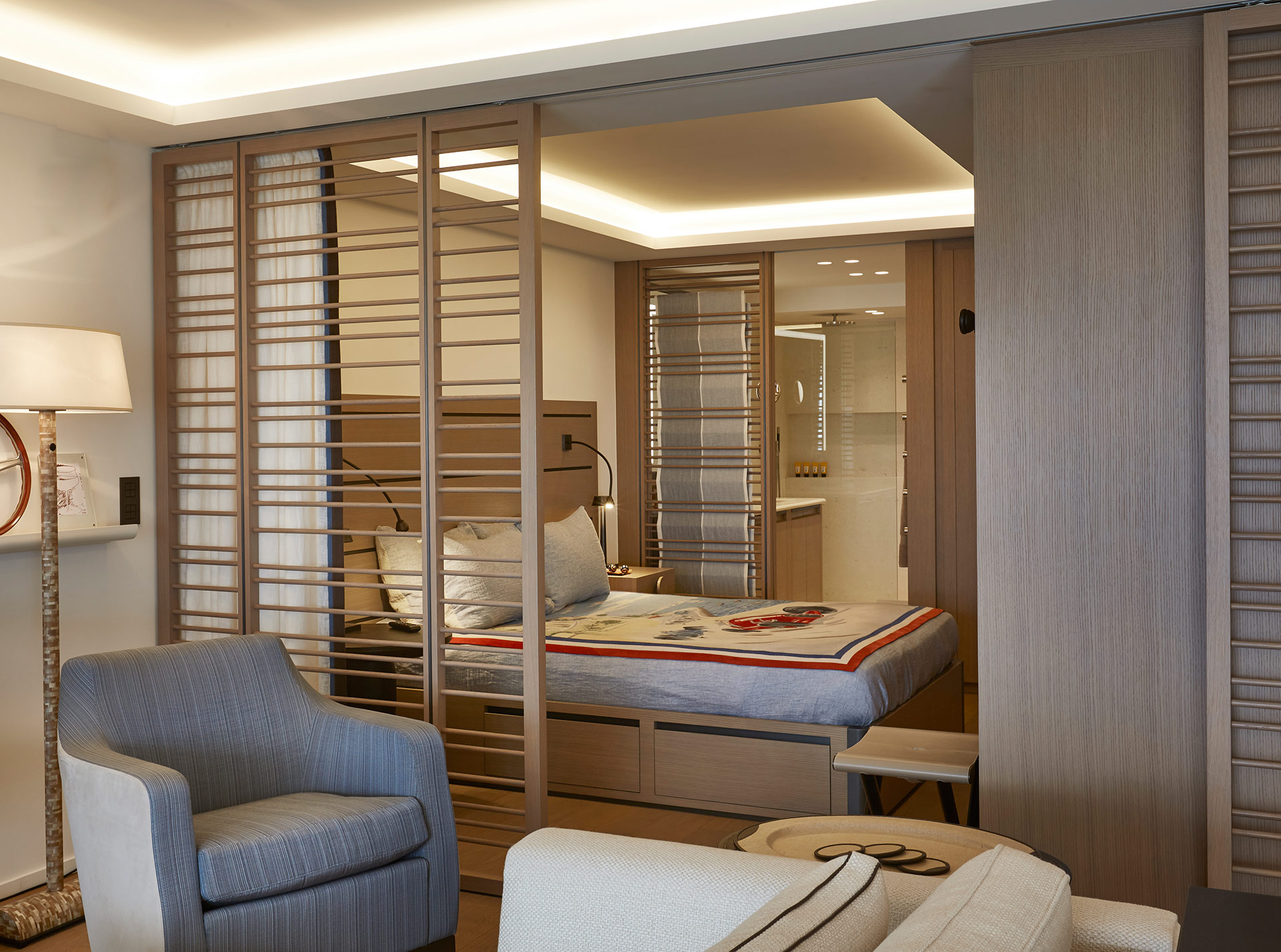 Bedroom of a private residence in Montecarlo furnished with Promemoria | Promemoria