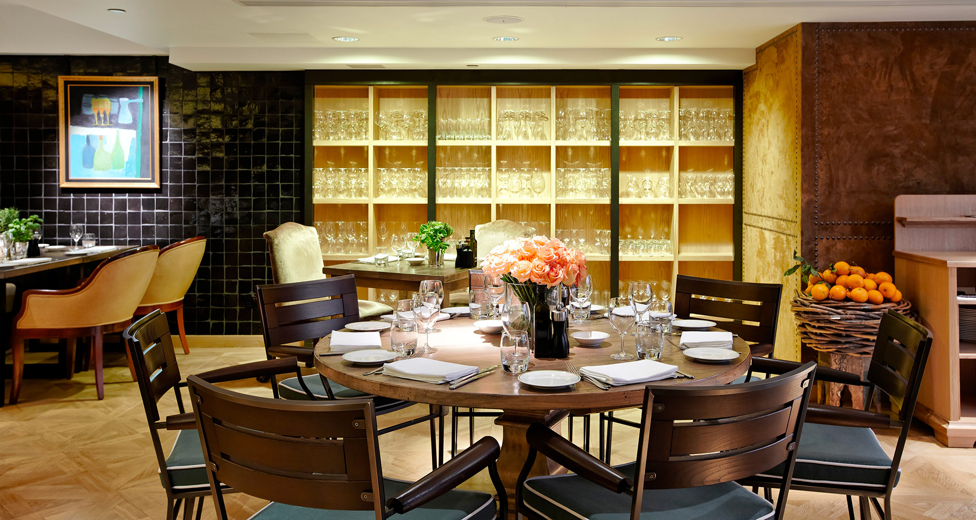 Dining room of the Novikov restaurant in London furnished with Promemoria | Promemoria