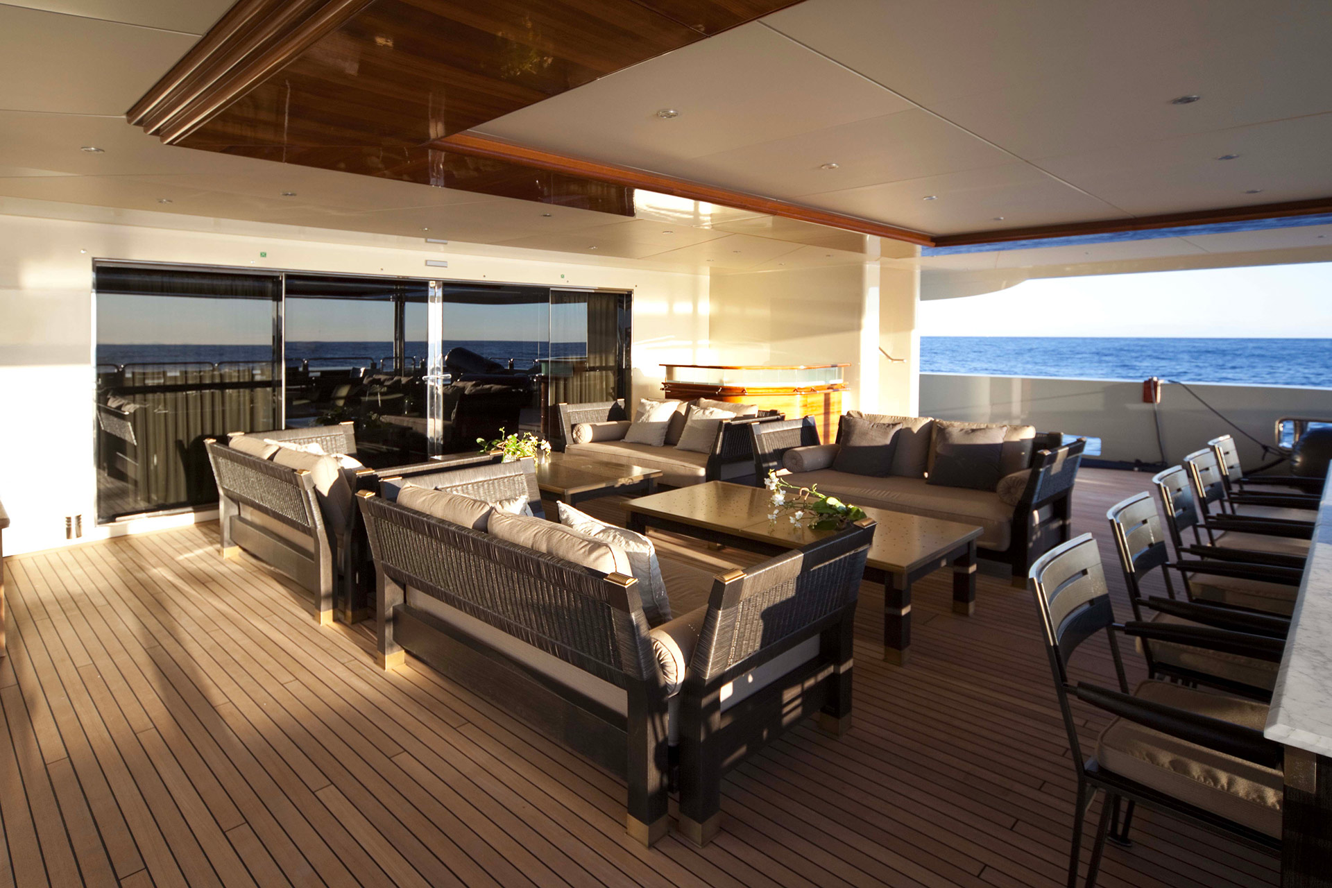 Deck of the AZTECA Yacht furnished with Promemoria | Promemoria