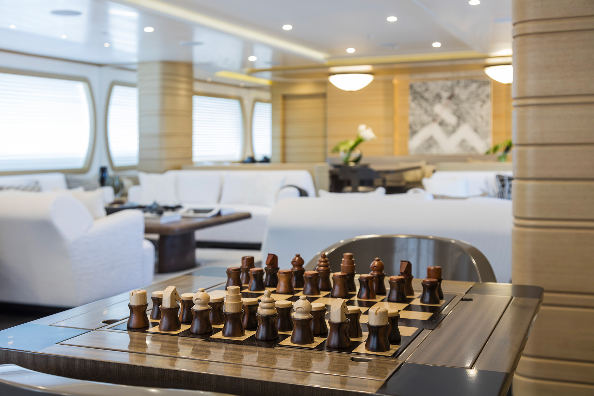 Board games in a Yacht designed by FM Architettura and furnished with Promemoria | Promemoria